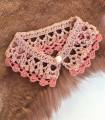 Col crochet rose CLAUDINE